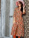 image of Linen Printed Casual Wear Readymade Kurti In Orange In Plus Size