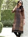 image of Office Wear Printed Readymade Kurti In Linen Brown In Plus Size