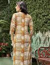 photo of Casual Wear Linen Beige Printed Readymade Kurti In Plus Size