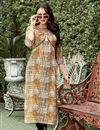 image of Casual Wear Linen Beige Printed Readymade Kurti In Plus Size