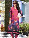 image of Printed Linen Office Wear Readymade Kurti In Pink In Plus Size