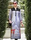 image of Casual Linen Printed Long Readymade Kurti In Plus Size
