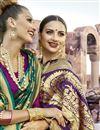 photo of Beguiling Print Work On Art Silk Purple Festive Wear Saree