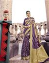 image of Beguiling Print Work On Art Silk Purple Festive Wear Saree