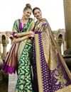 photo of Incredible Print Work On Teal Art Silk Party Wear Saree