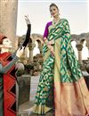 image of Incredible Print Work On Teal Art Silk Party Wear Saree