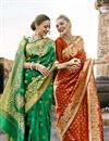 photo of Engaging Art Silk Green Designer Saree With Print Work