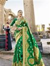 image of Engaging Art Silk Green Designer Saree With Print Work
