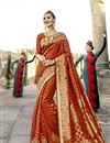 image of Classic Print Designs On Art Silk Occasion Wear Saree In Rust Color