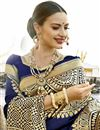 photo of Navy Blue Art Silk Festive Wear Saree With Winsome Printed Work
