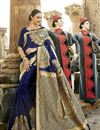 image of Navy Blue Art Silk Festive Wear Saree With Winsome Printed Work