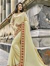 image of Engaging Cream Art Silk Designer Saree With Embroidery Work