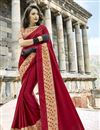 image of Radiant Embroidery Designs On Maroon Occasion Wear Saree In Art Silk