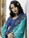 photo of Art Silk Turquoise Color Festive Wear Saree With Attractive Embroidery Work