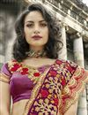 photo of Artistic Embroidery Work On Designer Saree In Purple Art Silk