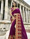 image of Artistic Embroidery Work On Designer Saree In Purple Art Silk