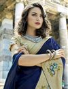 photo of Winsome Embroidery On Art Silk Party Wear Saree In Navy Blue Color