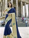 image of Winsome Embroidery On Art Silk Party Wear Saree In Navy Blue Color