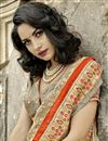 photo of Admirable Embroidery Work On Chikoo Color Art Silk Festive Wear Saree