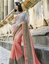 image of Marvelous Embroidery Work On Art Silk Grey Party Wear Saree
