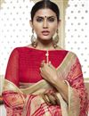 photo of Crimson Color Cotton Silk Fabric Function Wear Saree With Print Designs