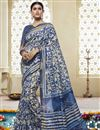 image of Print Work On Cotton Silk Fabric Off White Ethnic Wear Saree