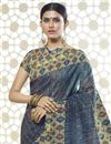 photo of Print Designs On Grey Ethnic Wear Saree In Cotton Silk Fabric