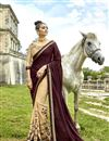 image of Festive Special Fancy Fabric Embroidery Work On Cream Half And Half Designer Saree