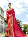 image of Half And Half Party Wear Saree In Salmon Fancy Fabric With Embroidery
