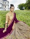 photo of Fancy Fabric Dark Beige Embroidered Party Wear Half Half Saree