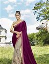 image of Fancy Fabric Dark Beige Embroidered Party Wear Half Half Saree