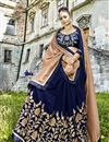 photo of Navy Blue Embroidered Party Wear Fancy Fabric Half And Half Saree