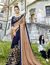 image of Navy Blue Embroidered Party Wear Fancy Fabric Half And Half Saree