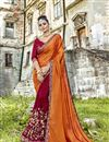 image of Festive Wear Embroidered Half N Half Saree In Maroon Fancy Fabric