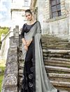 image of Festive Special Black Embroidered Party Wear Fancy Fabric Half And Half Saree
