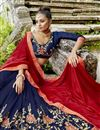 photo of Fancy Fabric Navy Blue Sangeet Wear Half And Half Saree With Embroidery