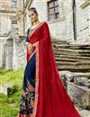 image of Fancy Fabric Navy Blue Sangeet Wear Half And Half Saree With Embroidery