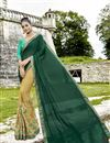 image of Cream Designer Half N Half Saree With Embroidery Work On Fancy Fabric