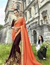 image of Fancy Fabric Brown Sangeet Wear Half And Half Saree With Embroidery