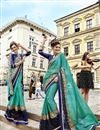 image of Beguiling Embroidery Work On Cyan Fancy Fabric Festive Wear Saree