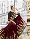 photo of Incredible Embroidery Work On Fancy Fabric Brown Party Wear Saree