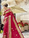 image of Tempting Fancy Fabric Crimson Color Function Wear Saree With Embroidery Work