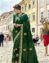 image of Incredible Embroidery Work On Fancy Fabric Dark Green Party Wear Saree