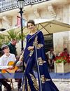 image of Engaging Navy Blue Fancy Fabric Designer Saree With Embroidery Work