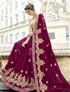 photo of Creative Embroidery Work On Designer Saree In Burgundy Fancy Fabric