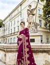 image of Creative Embroidery Work On Designer Saree In Burgundy Fancy Fabric
