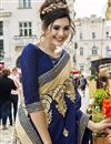 photo of Marvelous Embroidery On Fancy Fabric Party Wear Saree In Cream Color