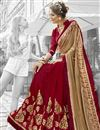 photo of Radiant Embroidery Work On Maroon Fancy Fabric Function Wear Saree
