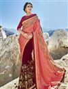 image of Half And Half Party Wear Saree In Fancy Fabric Maroon With Embroidery