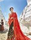 image of Festive Wear Embroidered Half N Half Saree In Fancy Fabric Grey Color